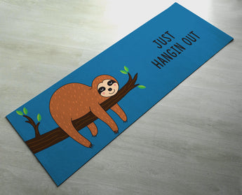 Just Hangin Out Sloth Yoga Mat - Cute Sloth Yoga Mat  - Practice Yoga In Style [Gift Idea / Fun Present] Exercise Mat