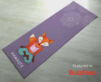 Free Shipping Worldwide - Free Shipping Worldwide - Funny Yoga Mat - Cute Orange Fox Namaste -  Thick & Sticky - Yoga Gift for Yogi/Yogini