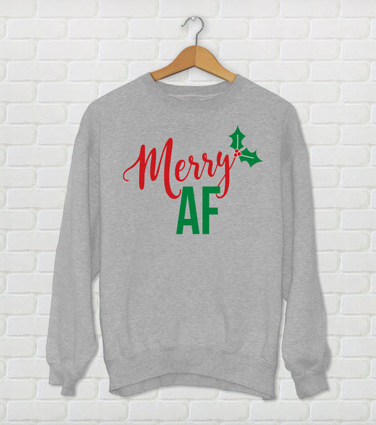 Merry AF Christmas Ugly Sweater Crewneck - Holiday Sweater Gray
