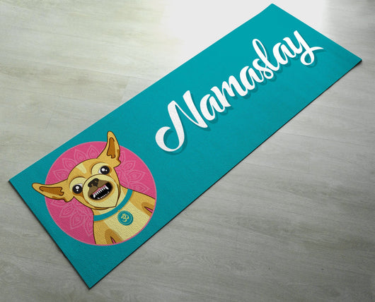 Printed Namaslay Dog Yoga Mat - Customized Yoga gifts for him/her - Thick & tear proof material - Green Yoga Mat