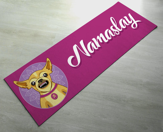 Free Shipping - Pink Printed Namaslay Dog Yoga Mat - Customized Yoga gifts for him/her - Thick & tear proof material - Green Yoga Mat