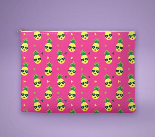 Free Shipping Worldwide! Pink Pineapple With Sunglasses Accessory Pouch- The Perfect Pineapple Accessory / Makeup Bag