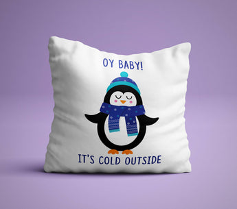 Oy Baby! It's Cold Outside  - Hanukkah Pillow - White Holiday Pillow -