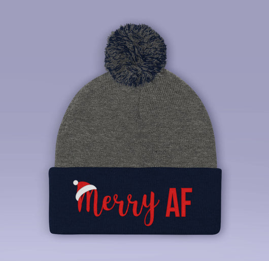 Merry AF Holiday Beanie - Red / Blue - Winter Pom Beanie Hat - Merry AF