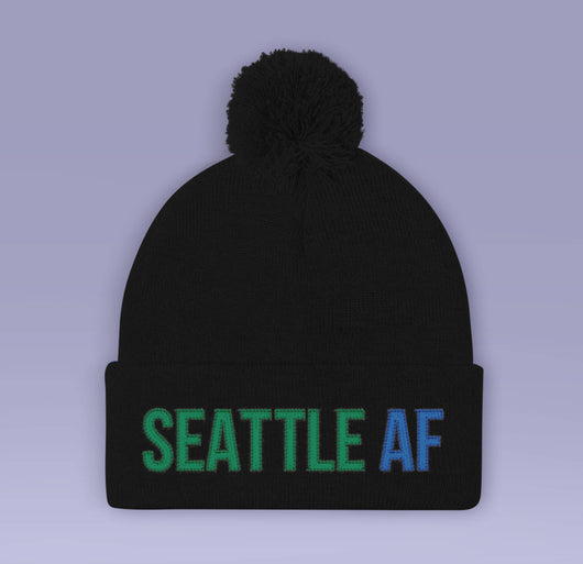 Holiday Beanie - Seattle AF  - Black / Blue Winter Pom Beanie Hat - Seattle As Fuck