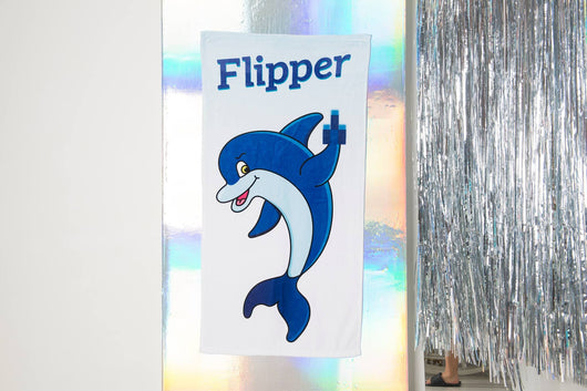 "Flipper Dolphin Beach Towel - Cute Dolphin Towel  - Hit The Beach In Style [Gift Idea / Fun Present] Dolphin Gifts 30""x60"""