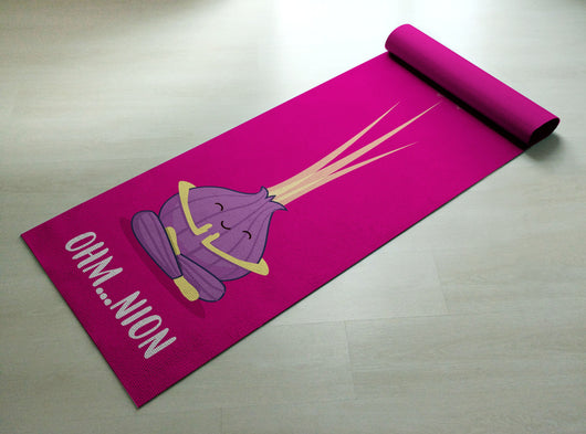 Ohm..nion Yoga Mat - Find Your Center Onion Yoga Mat / Thick Yoga Mat - Printed & Customized