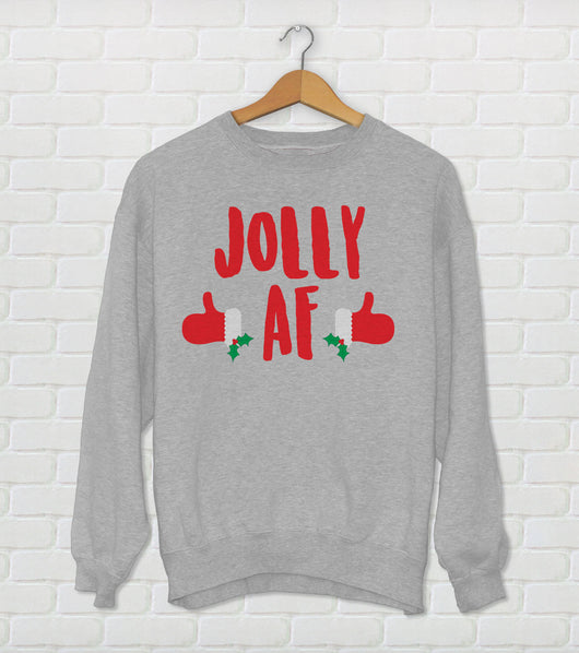 Jolly AF Ugly Christmas Sweater Crewneck - Holiday Sweater Gray