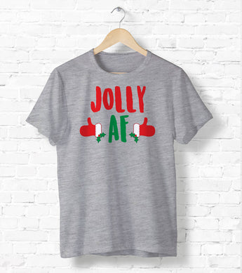 Jolly AF Snowman Tee - Ugly Christmas Shirt - Holiday Tee Shirt - Cute Holiday Tee