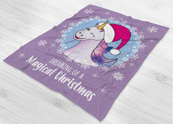 Dreaming Of A Magical Christmas -  Unicorn Blanket - Fleece Blanket  - [Small / Medium / Large]