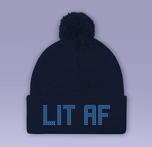 Lit AF Drunk Holiday Beanie - Red / Blue - Winter Pom Beanie Hat - Lit As F*CK