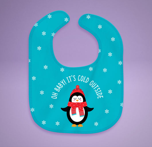 Free Shipping! Oh Baby! It's Cold Outside Bib - Cotton Baby Bib [Gift Idea / Fun Present] Holiday Baby Gifts