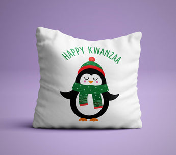 Happy Kwanza Pillow - Happy Kwanza Pillow - White Penguin Holiday Pillow