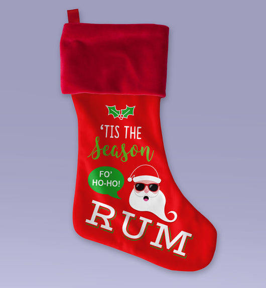Tis The Season For Rum - Cute Christmas Stocking - Makes a Great Christmas Present - Sublimated Christmas Stocking 12x9 Inch