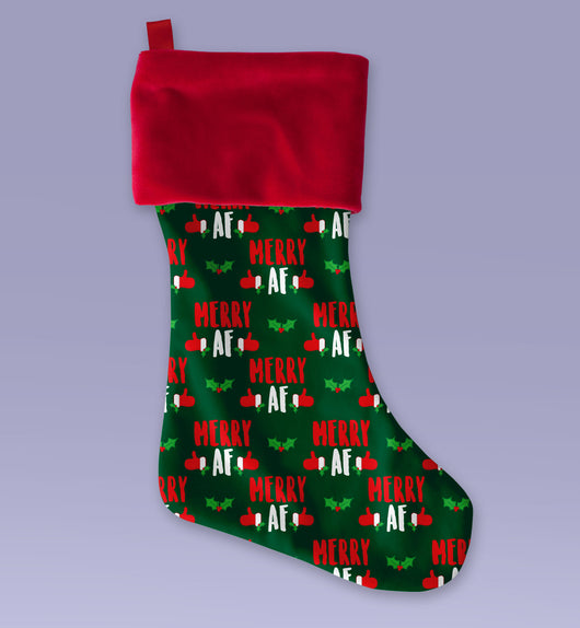 Merry AF Christmas Stocking - Cute Christmas Stocking - Makes a Great Christmas Present - Sublimated Christmas Stocking 12x9 Inch
