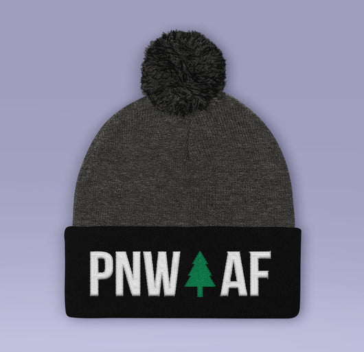 Holiday Beanie - PNW AF  - Black / Blue Winter Pom Beanie Hat - Pacific Northwest As Fuck