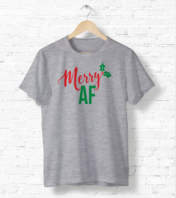 Merry AF Tee - Ugly Christmas Shirt - Holiday Tee Shirt - Cute Holiday Tee