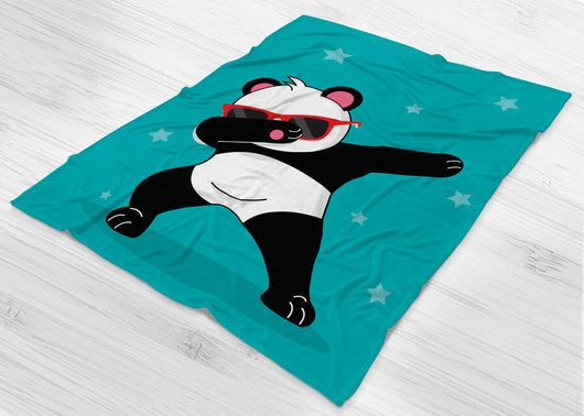 Panda Fleece Blanket - Red / White / Teal - Dabbing Panda Blanket - Panda Doing The Dab