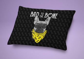 Dog Bed - Bad To The Bone Dog Pillow - Cute Cushion For Your Favorite Pup . - Yellow & Black Print - French Bulldog