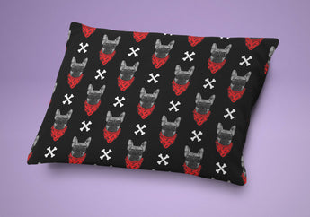 Dog Bed - Bad To The Bone Dog Pillow - Cute Cushion For Your Favorite Pup Red & Black Pattern Print - French Bulldog
