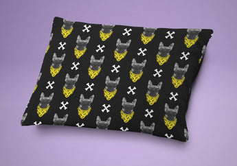 Dog Bed - Bad To The Bone Dog Pillow - Cute Cushion For Your Favorite Pup Yellow & Black Pattern Print - French Bulldog