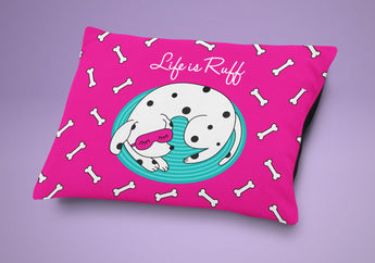 Pink Dog Bed - Life Is Ruff Dog Pillow - Cute Cushion For Your Favorite Pup