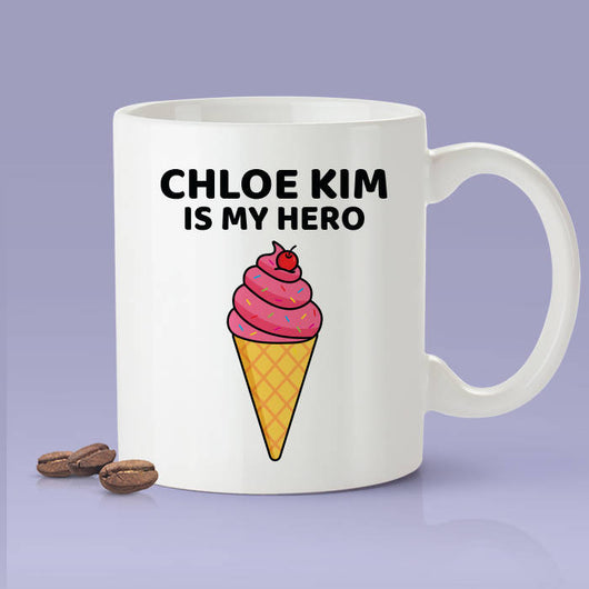 Chloe Kim Is My Hero Gray Olympic Supporter Ice Cream Coffee Mug - Olympic Inspired Snowboarding - Team USA - Gold Medal - Ice Cream Cone