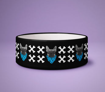 Dog Bowl - Skull & Bones - Puppy Present - Cute Printed Dog Pet Bowl - Dog Cartoon Design