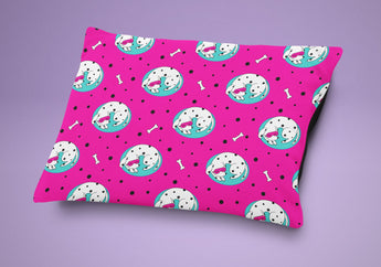 Pink Pattern Dog Bed - Life Is Ruff Dog Pillow - Cute Cushion For Your Favorite Dog