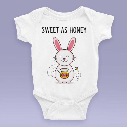 Sweet As Honey - Bunny Onesie / Bodysuit - Cute Bunny Themed Baby Gift