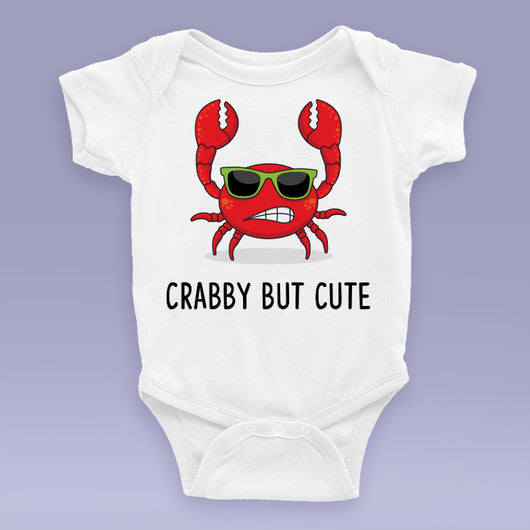 Crabby But Cute Baby Onesie / Bodysuit - Beach Themed Baby Gift