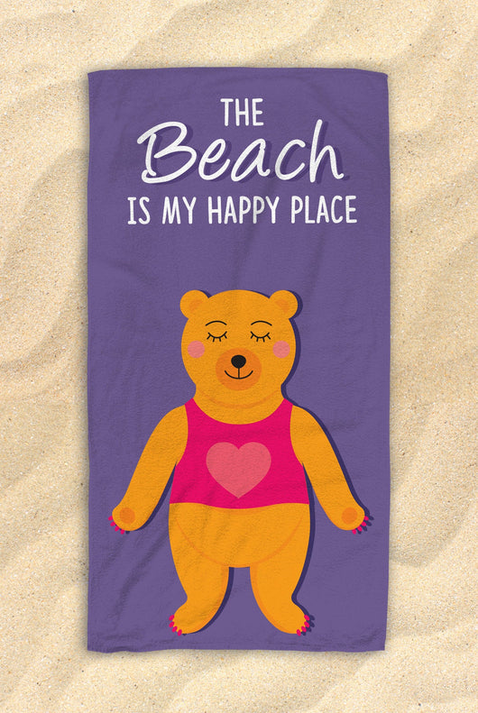 "The Beach Is My Happy Place -  Cute Brown Bear Towel  - Hit The Beach In Style / Bear Gifts 30""x60"""