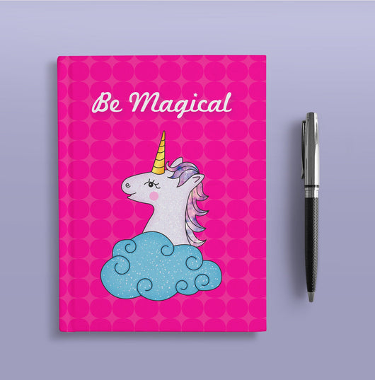 Pink Unicorn Hardcover Journal - Cute Dream Journal - Blank Lined Notebook - Purple Unicorn Print - Be Magical