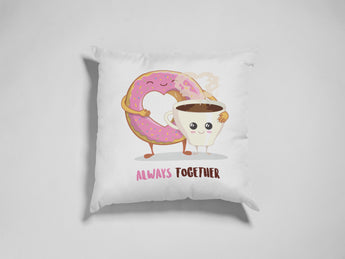 Coffee and Donut Decorative Pillow - Cute Love Pillow 18x18