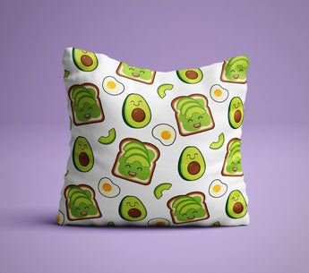 Avocado Toast Pillow - Cute Avocado and Egg Pillow - Breakfast Pillow - Millenial Gifts