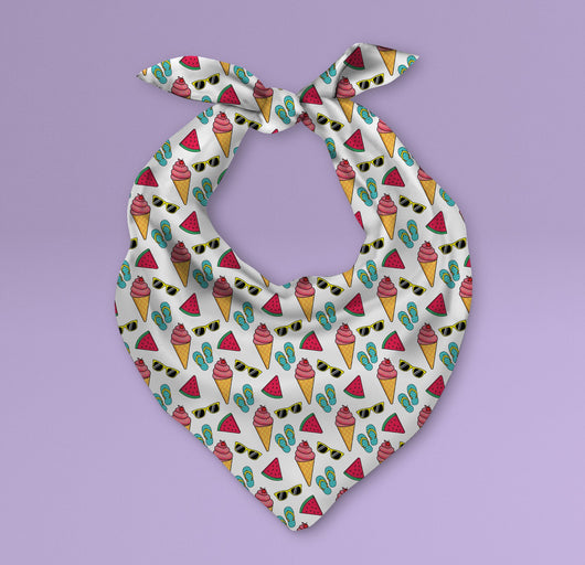 Triangle Ice Cream and Sunglasses Themed Pet Bandana - Dog Scarf or Cat Scarf - Cute Summery Inspired Print