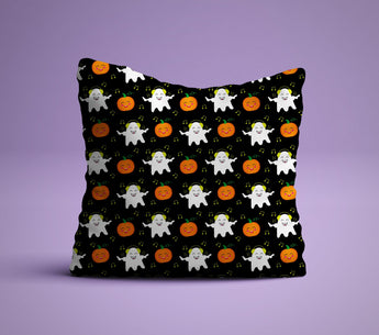 Ghost & Pumpkin Pillow - Halloween Decor Pillow - Perfect For Pumpkin Spice  Lovers - Cute Decorative Pillow 18x18 inches