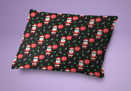Christmas Dog Bed - Cute Holiday Themed Santa Dog Pillow - Cute Dog Cushion For Your Favorite Dog or Puppy
