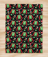 Cozy Christmas Sweater and Boot Print Holiday Blanket -  Christmas Gift - Fleece Blanket  - [Small / Medium / Large]
