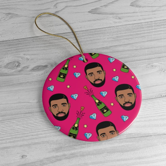 Pink Drake & Champagne Ornament -  Christmas Tree Ceramic Ornaments - Drake Funny Christmas Gift