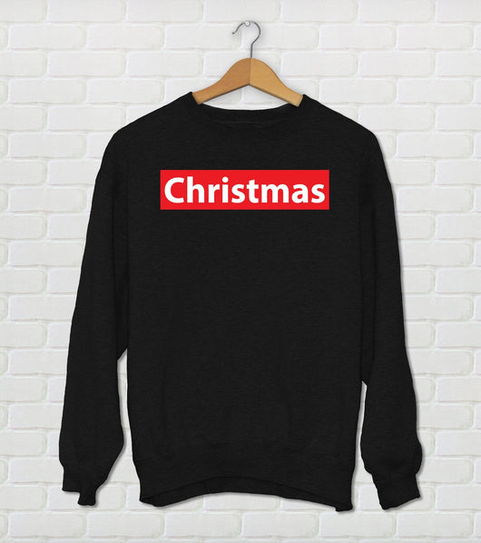Christmas - Fake Supreme - Supreme Parody Sweater-  Christmas Black Red & White Holiday Sweater - Ugly Sweater Party Design