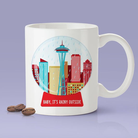 Seattle Holiday Mug - Funny Seattle Baby It's Rainy Outside Mug - Space Needle Themed