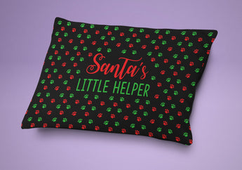 Santa's Little Helper - Christmas Dog or Cat Bed -  Christmas Cat Bed Cute Holiday Themed Pet Pillow - Cute Pet Cushion