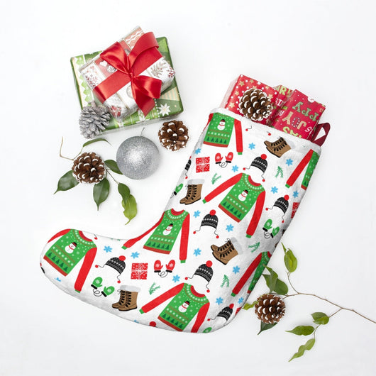 Cute Festive Christmas Stockings - Boot and Sweater Print - Red, Green & White
