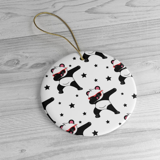 Dabbing Panda Black & White Ornament   Christmas Tree Ceramic Ornaments - Panda Lover Christmas Gifts