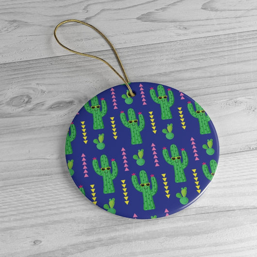 Cute Blue Cactus -  Christmas Tree Ceramic Ornaments - Blue & Green Cactus Gift