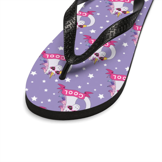 Cute Unisex FlipFlops  Purple Cool Unicorn Thongs