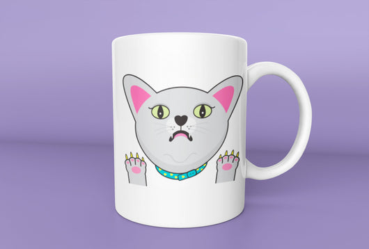 Funny Scared Russian Blue Cat Mug -  Cat Mug - Russian Blue Cat Owner Mug