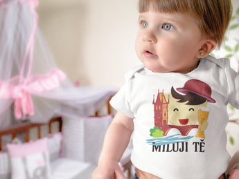I Love You - Czech Themed Miluji tě - Baby Bodysuit - White - Cute Baby Gift - Czech Baby Gift