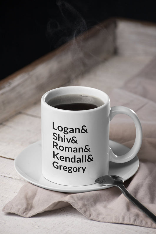 Logan and Kendall and Shiv and Roman and Gregory -  Succession Parody Mug